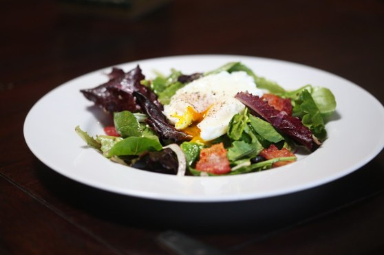 Poached Egg Salad with Bacon and Sherry Dijon Vinaigrette
