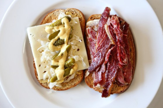 open faced corned beef sandwich