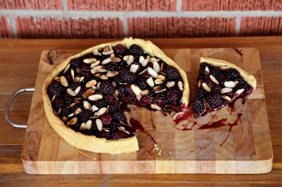 Blackberry Tart with Blackberry Jam, Toasted Almonds and a Cornmeal Crust