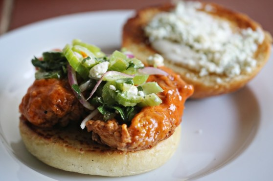Buffalo Chicken Sandwiches with Blue Cheese and Celery Cole Slaw
