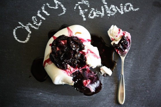 Cherry Pavlova with Greek Yogurt