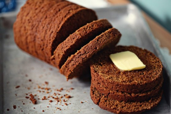 Sliced Boston Brown Bread with Butter