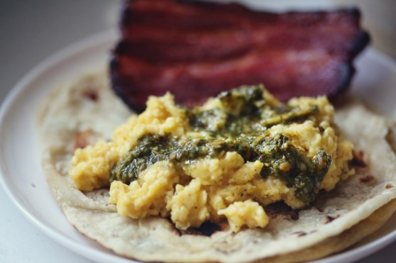 Soft Scrambled Eggs with Pesto