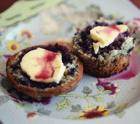 Blueberry Muffins with Blueberry Syrup
