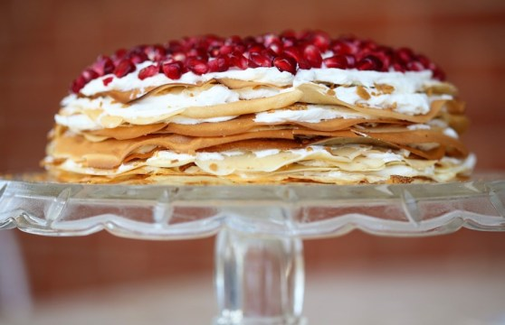 crepe cake with lemon buttercream and pomegranate seeds 2