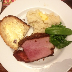 Dinner: Brown sugar ham, mashed potatoes and green peas with snow peas