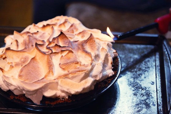 torching the smores pie