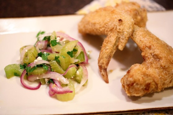 celery blue cheese slaw and korean fried chicken