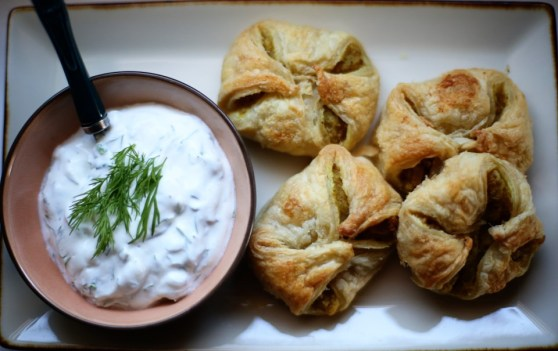 curry potato puffs with dill cream