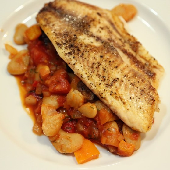 tilapia with tomato sauce and butter beans