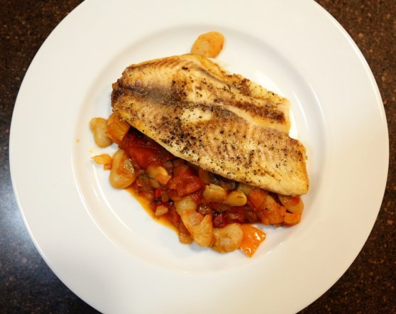 tilapia with tomatoes, olives and butter beans