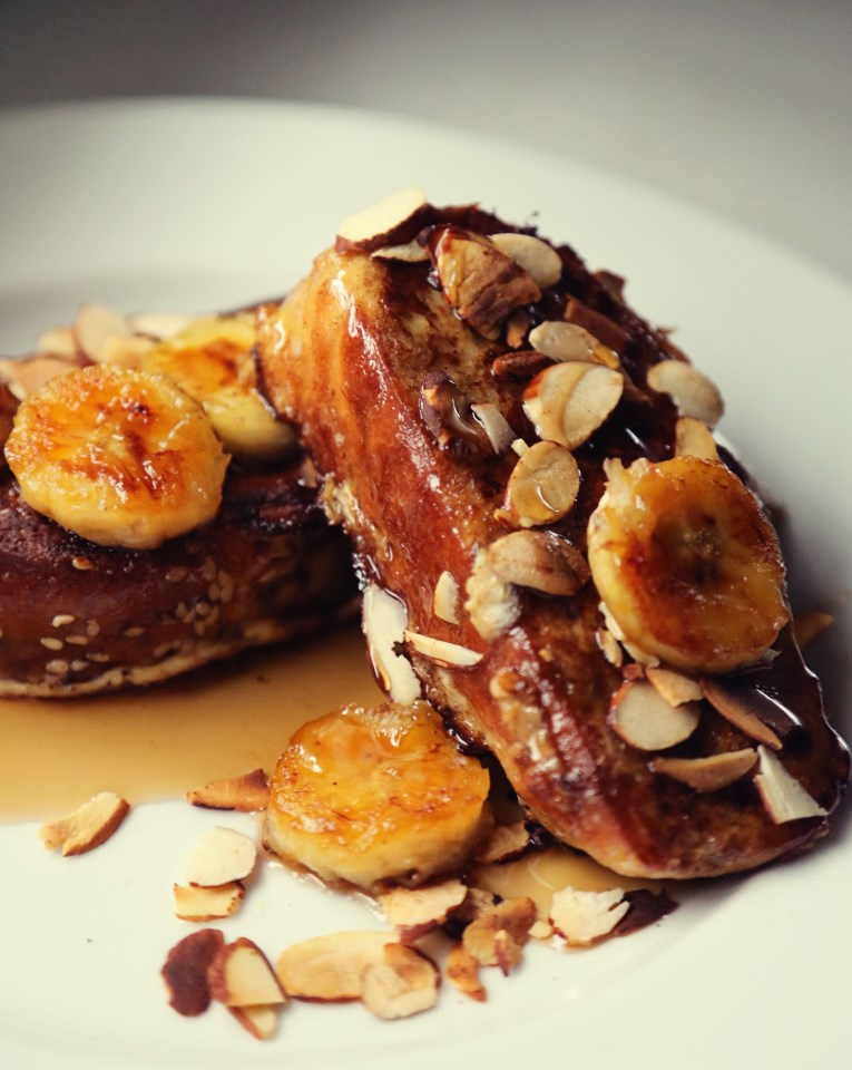 Challah French Toast with Caramelized Bananas and Toasted Almonds ...