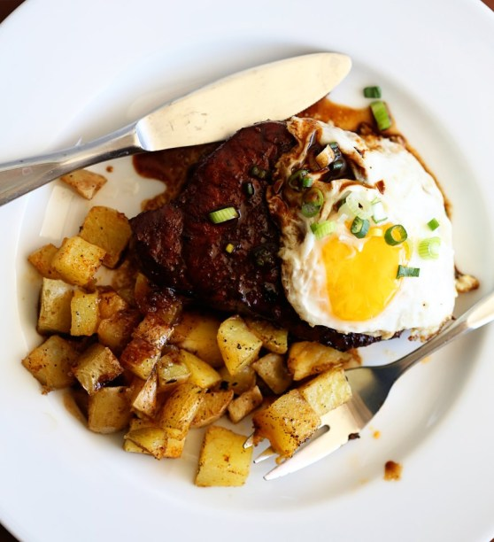 brunch-pork chops, home fries and a fried egg