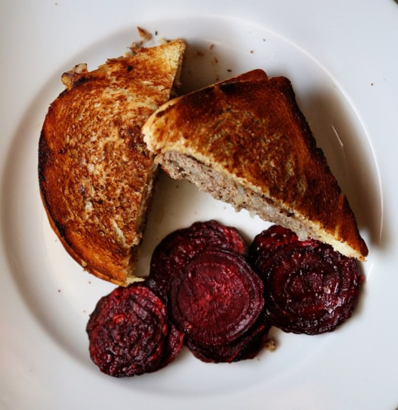 Patty Melt with Beet Chips