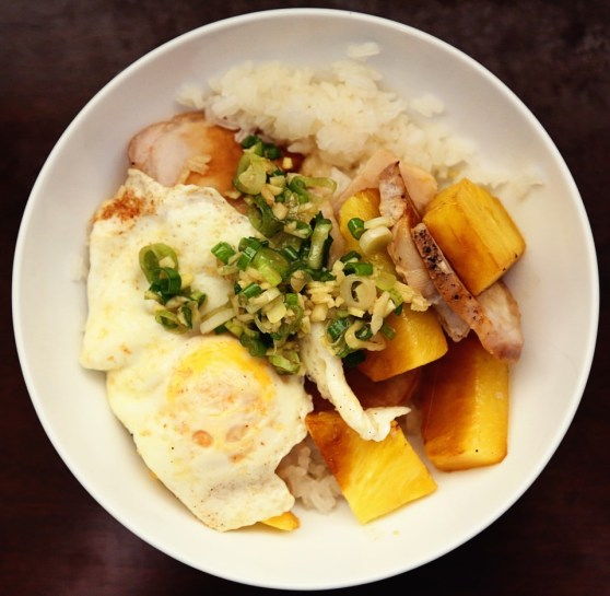 Sticky Rice with Broiled Pork and Pineapple