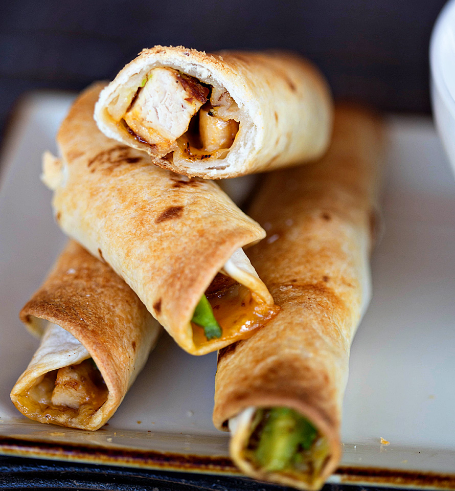 Chicken Avocado Taquitos with Red Pepper Soup