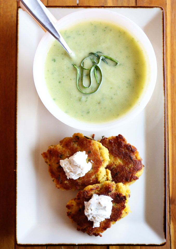 Zucchini Basil Soup with Stove Top Fritters
