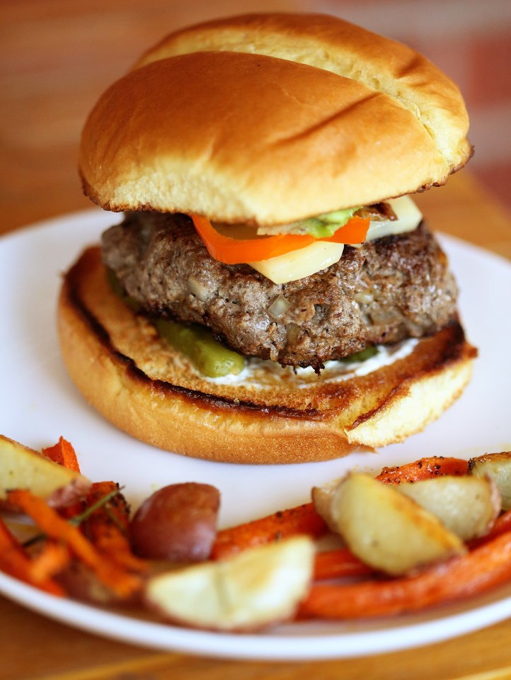 Buffalo Burgers with Rosemary Roasted Root Vegetables | The Family ...