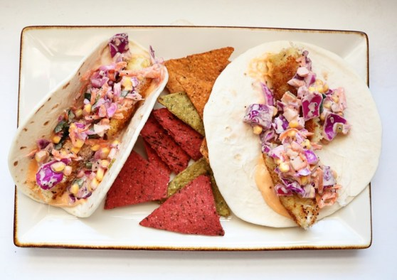 Fish Tacos with Corn Slaw and Srirracha Mayo