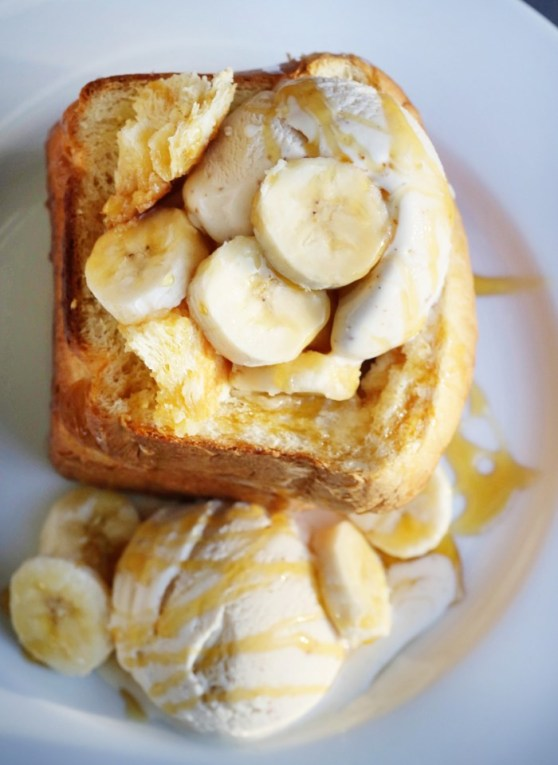 Milk Toast with Brown Butter Ice Cream, Bananas and Honey