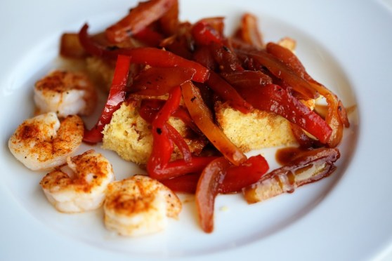 Peperonata with Cajun Shrimp and Cornbread
