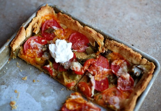 Green Chile Tomato Tart
