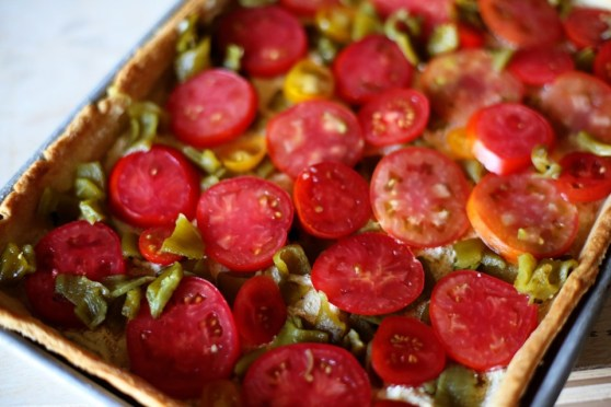 pre-baked tomato and green chile tart