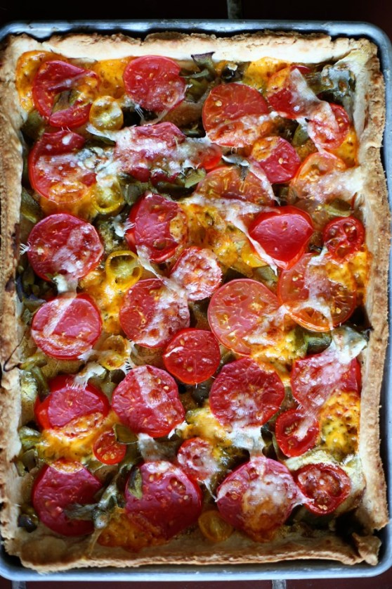 Summer Tomato and Roasted Green Chile Tart