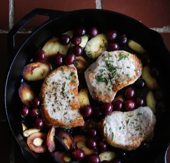 pork chops with grapes and parsnips
