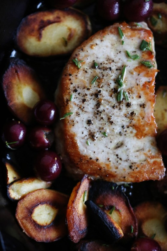 rosemary pork chops with parsnips and grapes