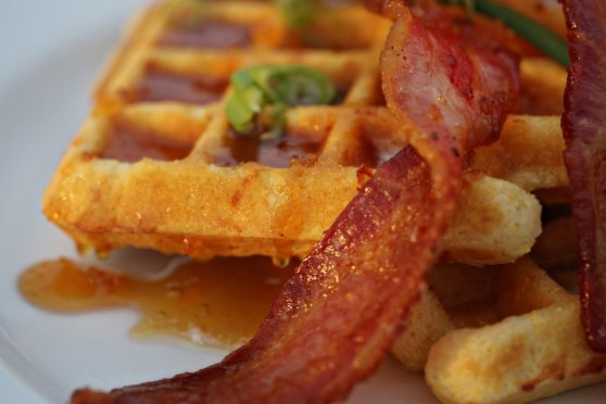 Smoked Gruyere Cornmeal Waffles and Spicy Honey