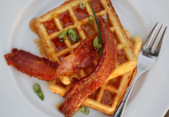 Smoked Gruyere Cornmeal Waffles with Spicy Honey