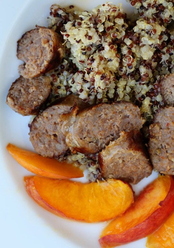 Peaches, Sausage and Coconut Oil Quinoa