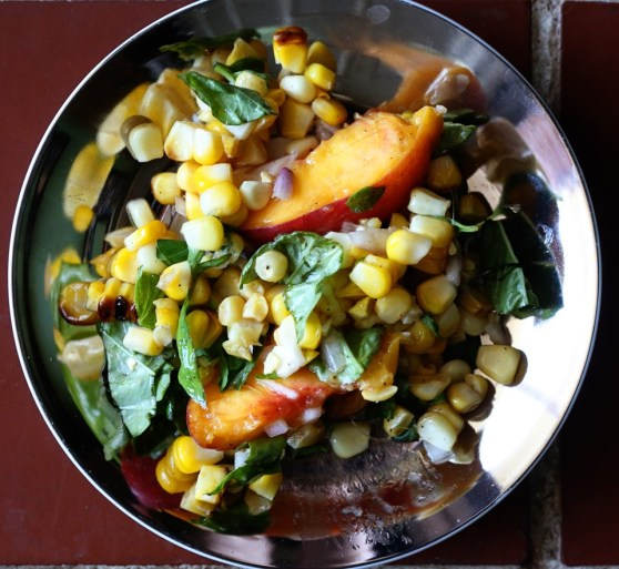 roasted corn and peach salad