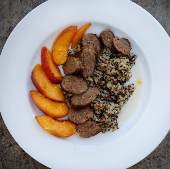 Sausage, Peaches and Quinoa