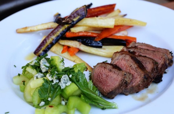 Steak, Roasted Carrots and Celery Salad