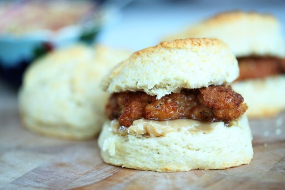 fried chicken and cream biscuits with maple butter